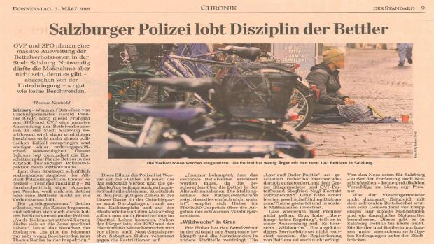 2016-03-03 Der Standard Salzburger Polizei lobt Disziplin der Bettler 1136 640